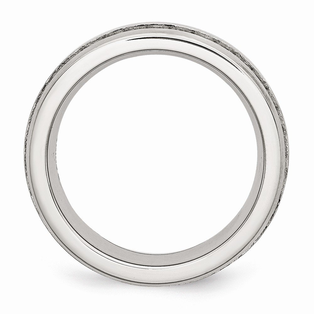 Saris and Things Stainless Steel 7mm Double Row CZ Ring 6 to 8 Size