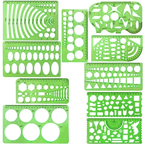 - 10 Pieces Green Plastic Drawings Templates Measuring Templates Geometric Rulers for School and Office Supplies