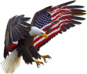 """2Pcs American Bald Eagle Stickers USA Flag Decal Laptop Vinyl Decal Patriotic Eagle Sticker for Car 5.3""""x4.7"""""""