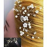 FOH Set of 2 Handmade Bridal Crystal Beaded Floral Wedding Hair Vine,Wreath,Hair Comb, Bridal Headpiece, Hair Accessories