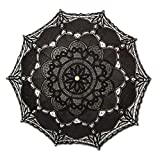 Romantic Battenburg Lace Parasol with Wood Handle, Black