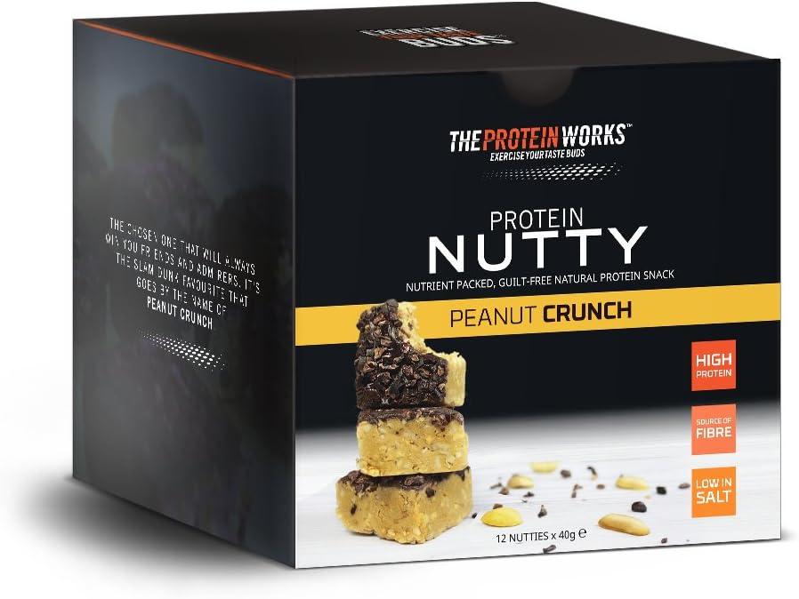 Protein Nutties | Alto en Proteínas | Snack Energético | THE PROTEIN WORKS | Cacahuete Crunch | Caja de 12