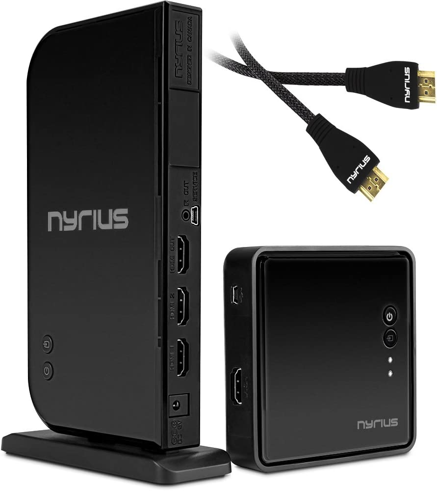 Nyrius Aries Home+ Wireless HDMI 2X Input Transmitter & Receiver for Streaming HD 1080p 3D Video and Digital Audio (NAVS502) - Bonus Additional Nyrius HDMI Cable Included