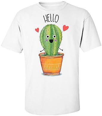 e9743d070 Finest Prints Cute Little Cactus Saying Hello Men's T-Shirt | Amazon.com