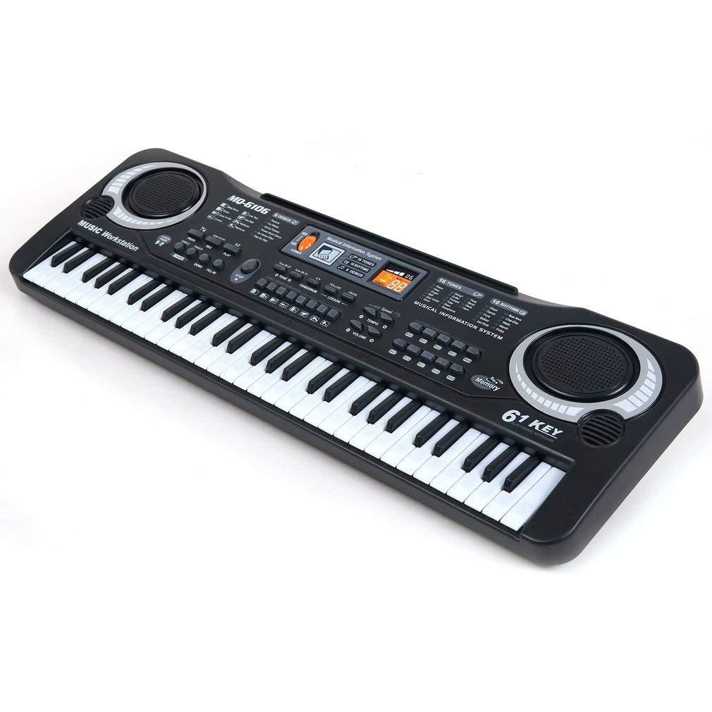 Kitechildhood 61 Keys Digital Music Electronic Keyboard Board Toy Gift Electric Piano Black /& White