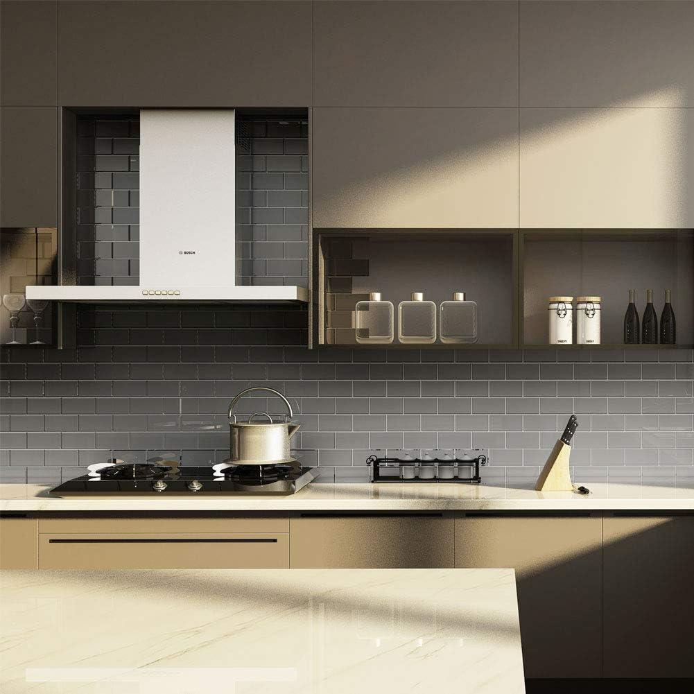 Diflart Glas-Fliesen für Küche und Bad 116x16 Inch Grey Pack of 16