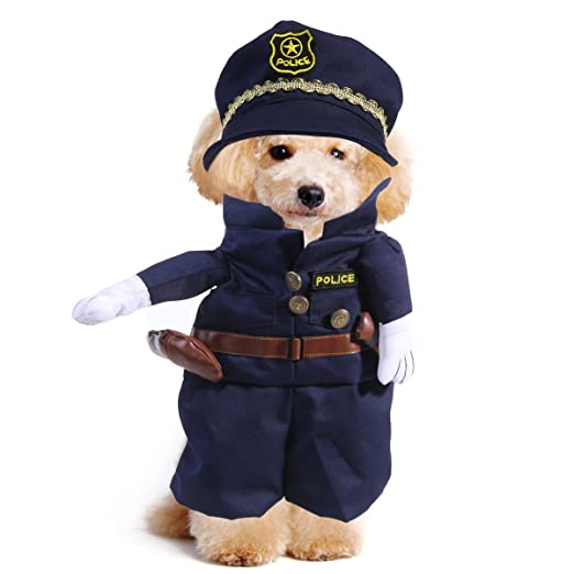 UEETEK Disfraces para Perro Gato Mascotas Traje Policía Ropa ...