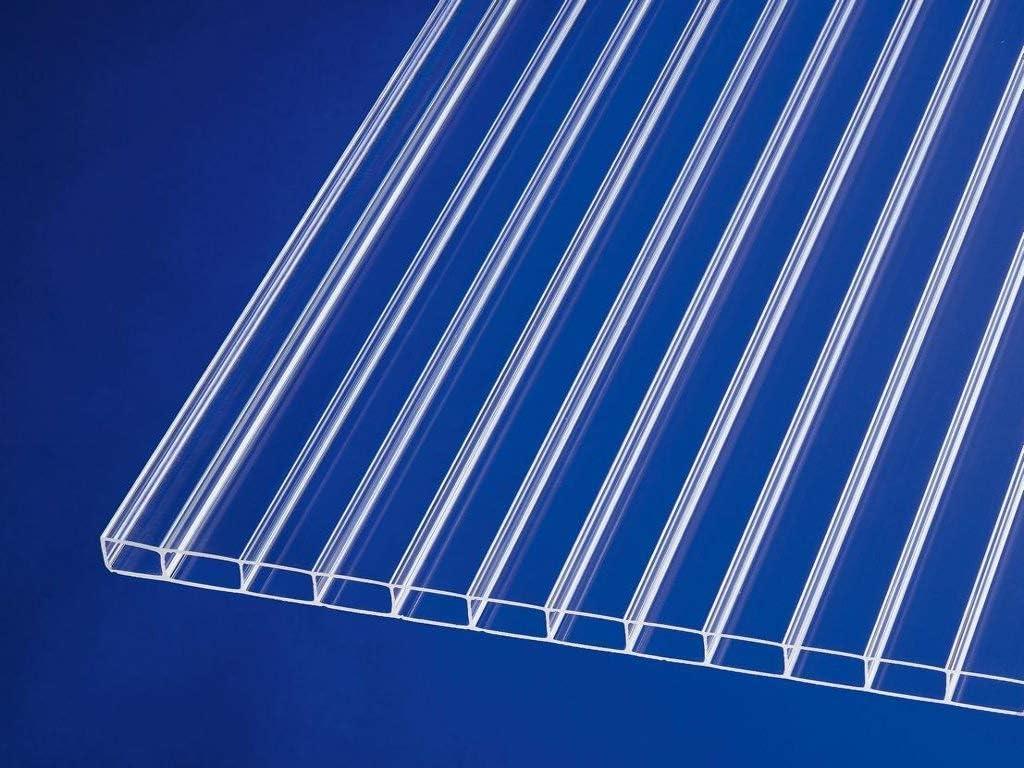 Stegplatte aus Polycarbonat |Doppelstegplatte| longlife Deluxe| 16mm stark 16//32 980mm x 3000mm Hagelsicher bis 40mm Hagelkorndurchmesser |Steg 3 Fach B x T