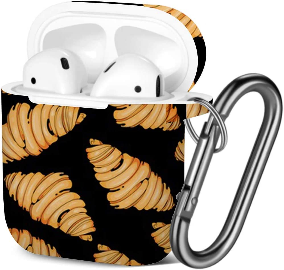 Compatible with AirPods 2 and 1 Shockproof Soft TPU Gel Case Cover with Keychain Carabiner for Apple AirPods Croissants On
