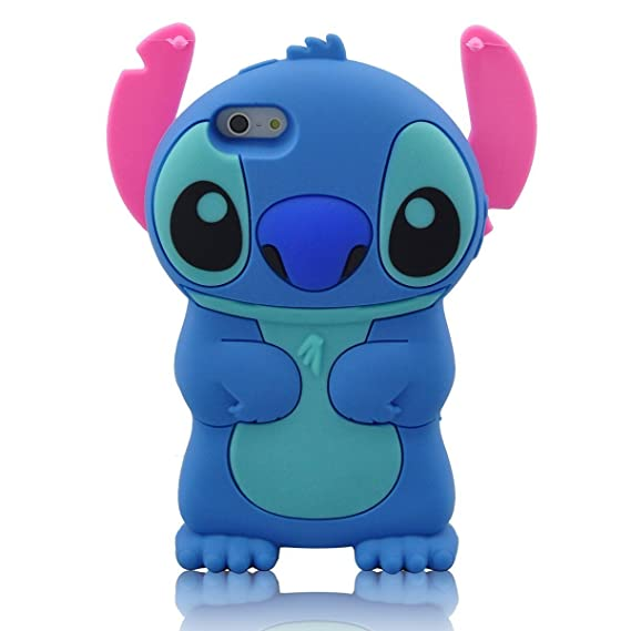 Modal Cute Movable Ear Flip Stitch Lilo Silicone Cover Case For Iphone 5 BLUE