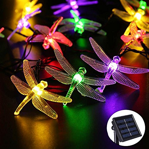 DR.OWL Outdoor Solar String Lights with Dragonflies by Icicle, 16ft 30LED 2 Modes Fairy Lighting for Christmas