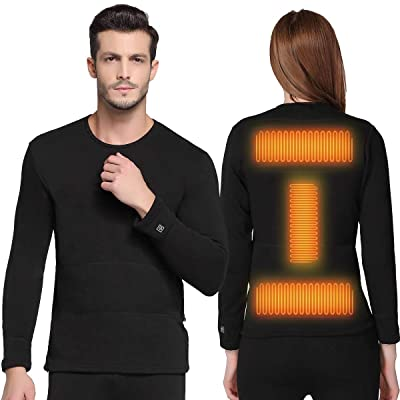 FERNIDA Insulated Heating Underwear Washable USB Electric Heated Thermal Long Sleeve T Shirts and Pants(Battery Not Included) at Amazon Men's Clothing store