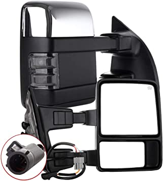 AUTOMUTO Towing Mirror Left and Right Tow Mirrors Power Adjusted Chrome Heated Turn Signal Light Fit Compatible with 1999-2007 Ford F250//F350//F450//F550 Super Duty