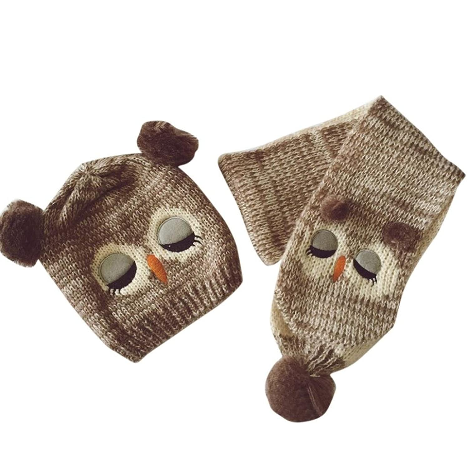 Oksale Owl Pattern Baby Boys Girls Infant knitted Beanie Hat Caps + Scarf
