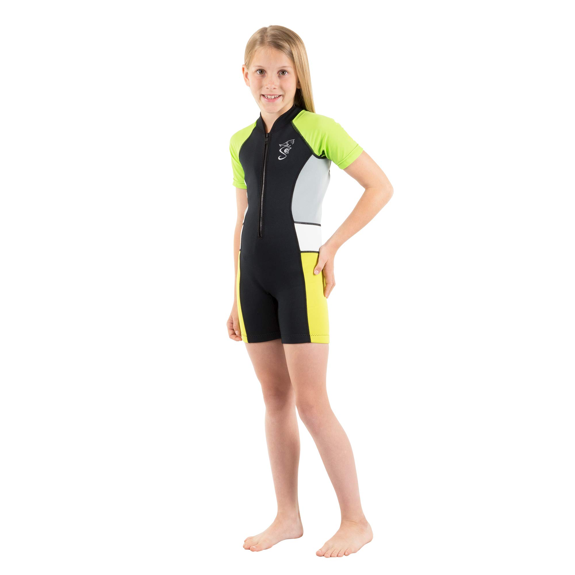 Seavenger Cadet 2mm Kids Shorty | Child Neoprene Wetsuit for Snorkeling, Surfing and Swimming (Yellow-Green, 3T) by Seavenger