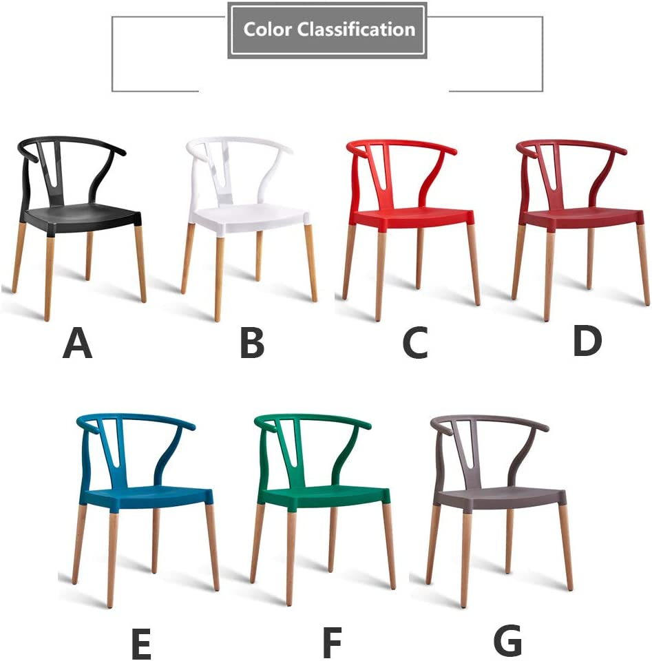 YANGFH Bar Chair Home Plastic Lounge Chair Wooden Dining Chair Back Reception Chair White Black Kitchen Restaurant Cafe Bar bar stool (Color : F) D