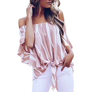 4384c10858991e Off Shoulder Shirt for Women丨2019 Summer Loose Striped Bell Sleeve Front  Tie