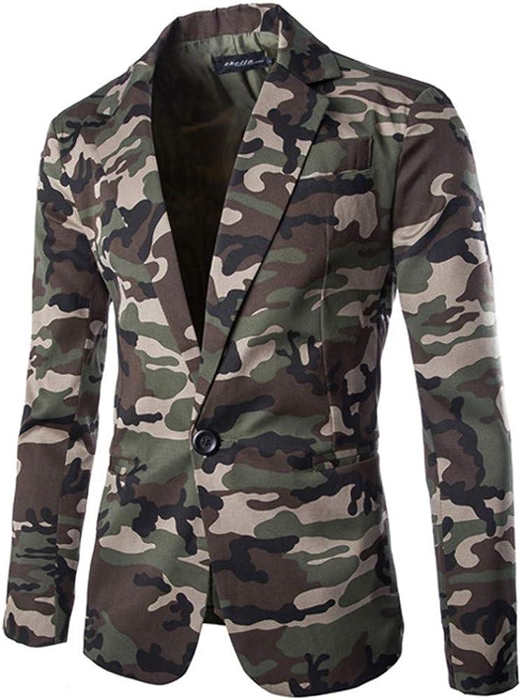 Realdo Mens Camouflage Blazer Big Men Fashion One Button Cardigan Jacket Coat Top