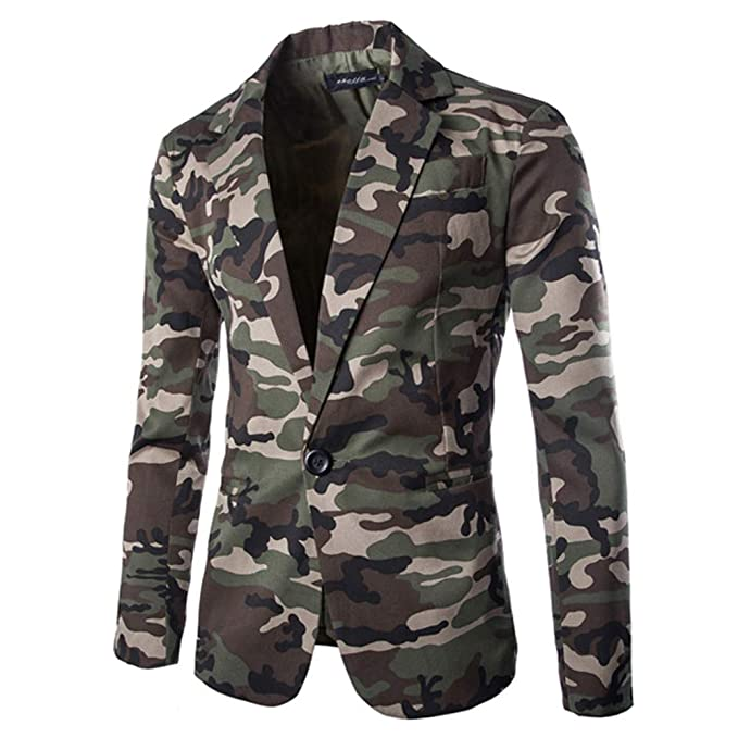 Mens Blazer Slim Fit Casual Camouflage Sport Coats ...