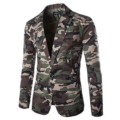 WUAI Mens Suit Jackets Classic Fit Camouflage One Button Blazer Coat Jacket Tops