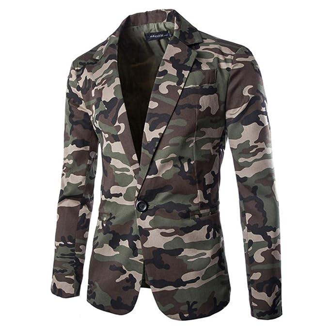 Amazon.com: WUAI Mens Suit Jackets Classic Fit Camouflage ...