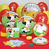 Farm Animal Party Supplies - 1st Birthday Standard Party Pack for 8