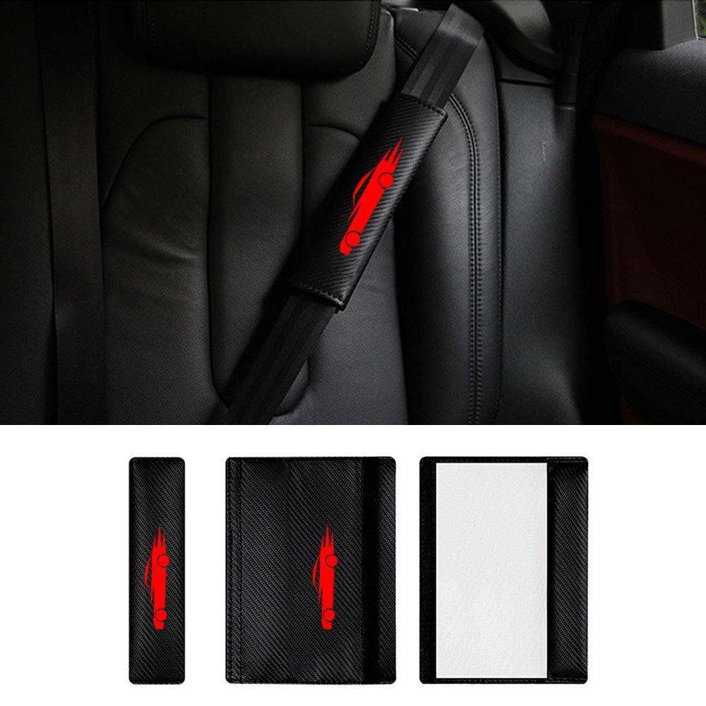 Lot de 2 Ceinture de S/écurit/é Voiture Coussinets d/épaule Fibre de Carbone pour CX-5 mazda5 mazda8 avec Voiture de Sport Autocollants Rouges