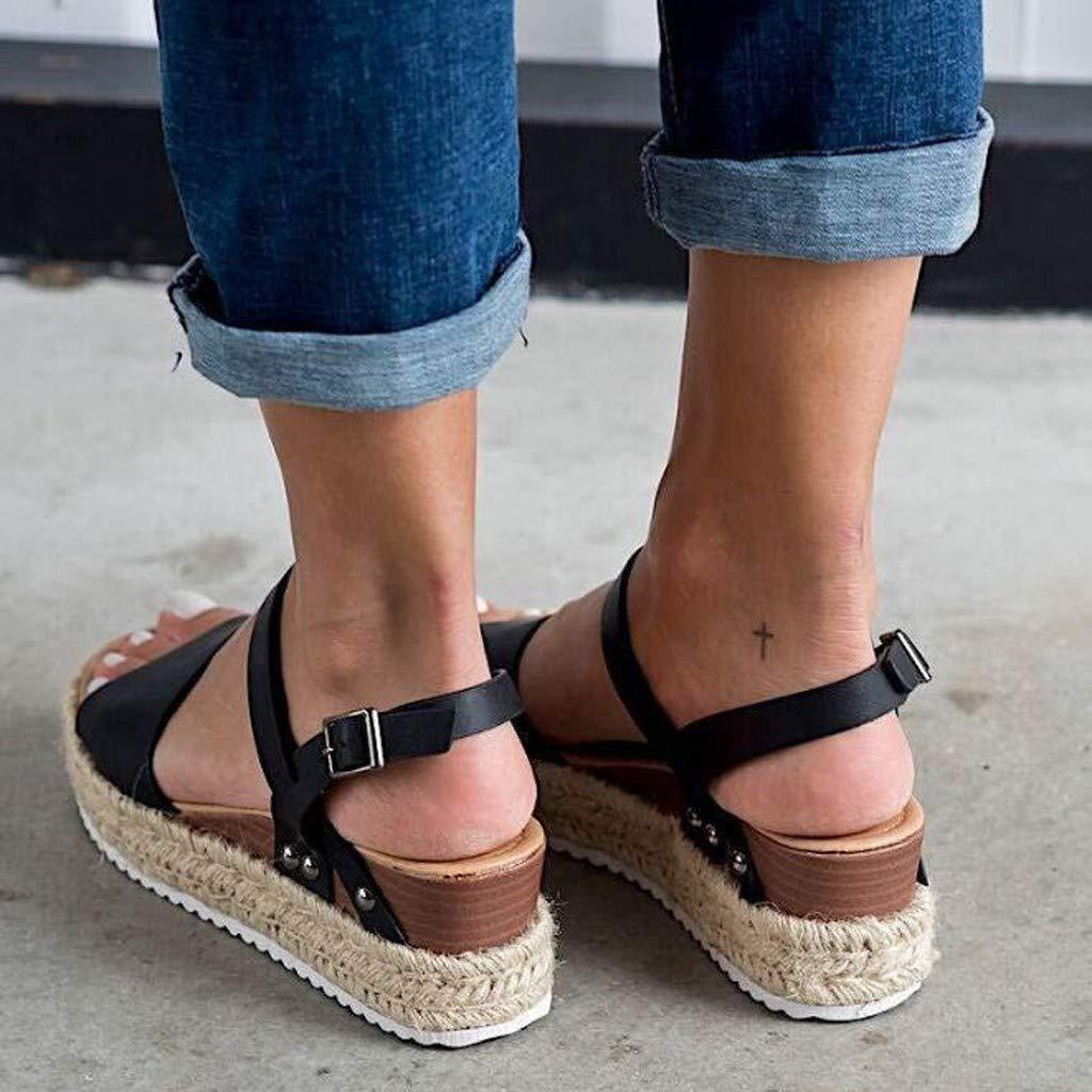 Women's Platform Sandals,Sharemen Espadrille Wedge Ankle Strap Studded Open Toe Sandals(Black,US: 6) by Sharemen Shoes (Image #4)