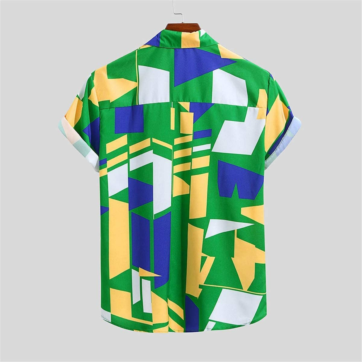 Thenxin Mens Cotton Button Down Short Sleeve Shirt Colorful Geometric Printed Hawaiian Tops