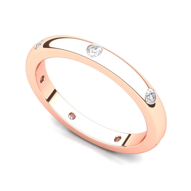 14k Rose Gold Bezel set Diamond Semi Eternity Wedding Band Ring (G-H/SI, 0.21 ct.), 6.5 by Juno Jewelry