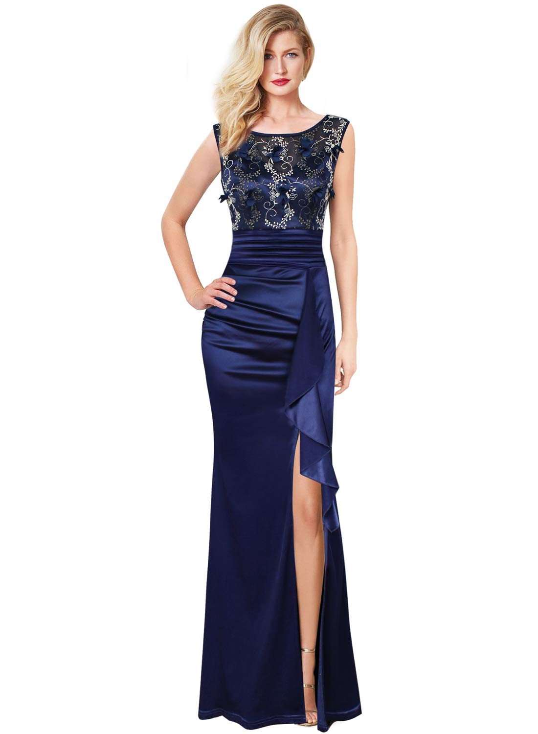 VFSHOW Womens Formal Ruched Ruffles Embroidered Evening Wedding Maxi Dress 290 BLU L