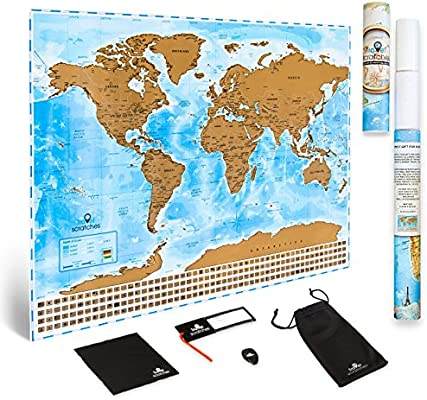 Deluxe Personalized Tracker Memory Map Scratcher Included Scratch Off World Map Travel Poster Perfect Traveler Gift US States /& Country Flags Blue /& Gold Edition By Travelscratches TSM-001