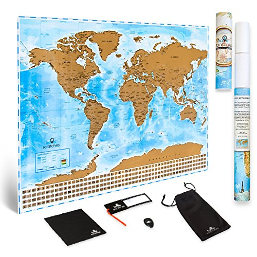 Scratch Off World Map Travel Poster - US States & Country Flags. Deluxe Personalized Tracker Memory Map. Scratcher Included. Perfect Traveler Gift, Blue & Gold Edition By Travelscratches (Of Nc Capital Furniture)