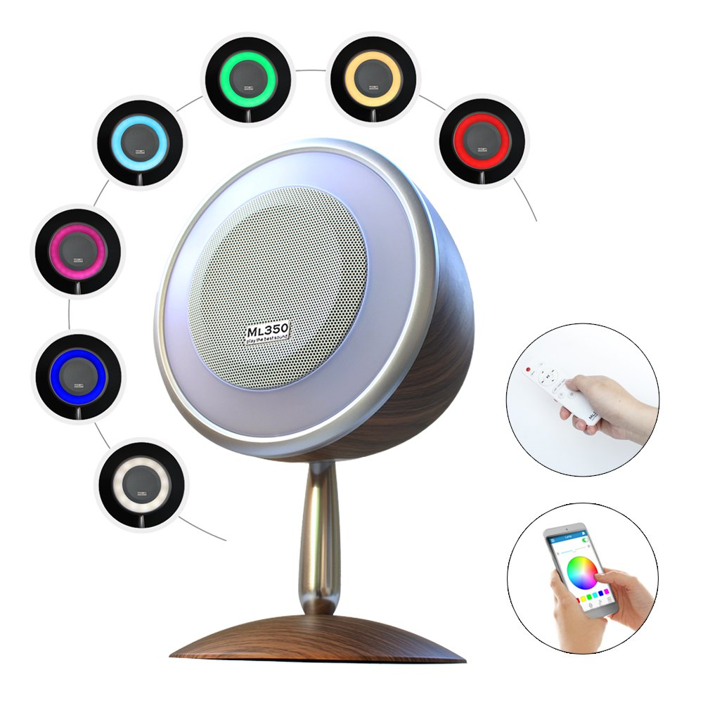 FACE.YOU ML350 Retro Style Wireless Bluetooth Speaker with Various and Dimmable Light Show, 15W Superior StereoSound, Bluetooth 4.0, App/Remote Control, Wake Up Light Alarm, Music Timer, Dark Grain