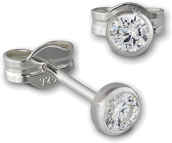 Paar Ohrstecker mit 8 Zirkonia weiß 925 Silber rhodiniert Ohrschmuck Ohrringe