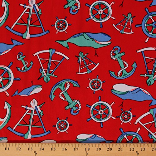 Nautical Twill Anchors Whales Helms Red Cotton Fabric by the Yard (9469l-11m) (Nautical Fabric Cotton)