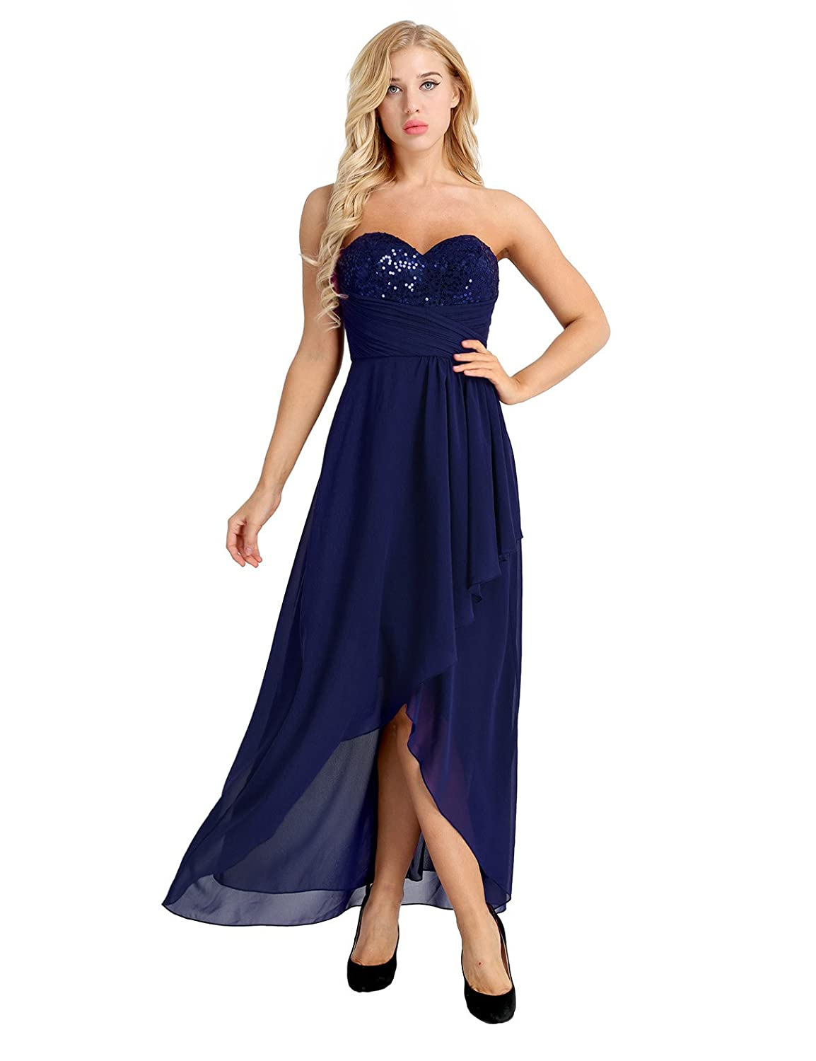 TiaoBug Women Strapless Chiffon Dress Empire Waist Bridesmaid Evening Prom Party Dresses Gowns