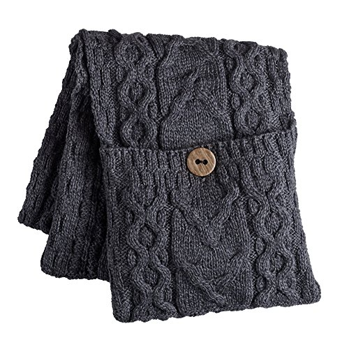 Womens Galway Bay Cable Knit Wool Pocket Scarf
