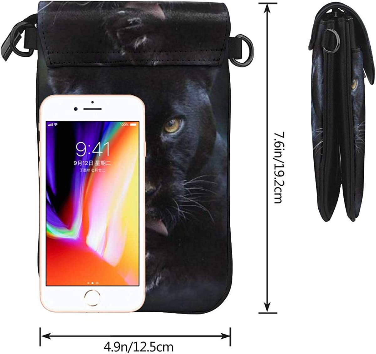 Black Panther Crossbody Cell Phone Purse Shoulder Bag for Women with Card Slots Wallet