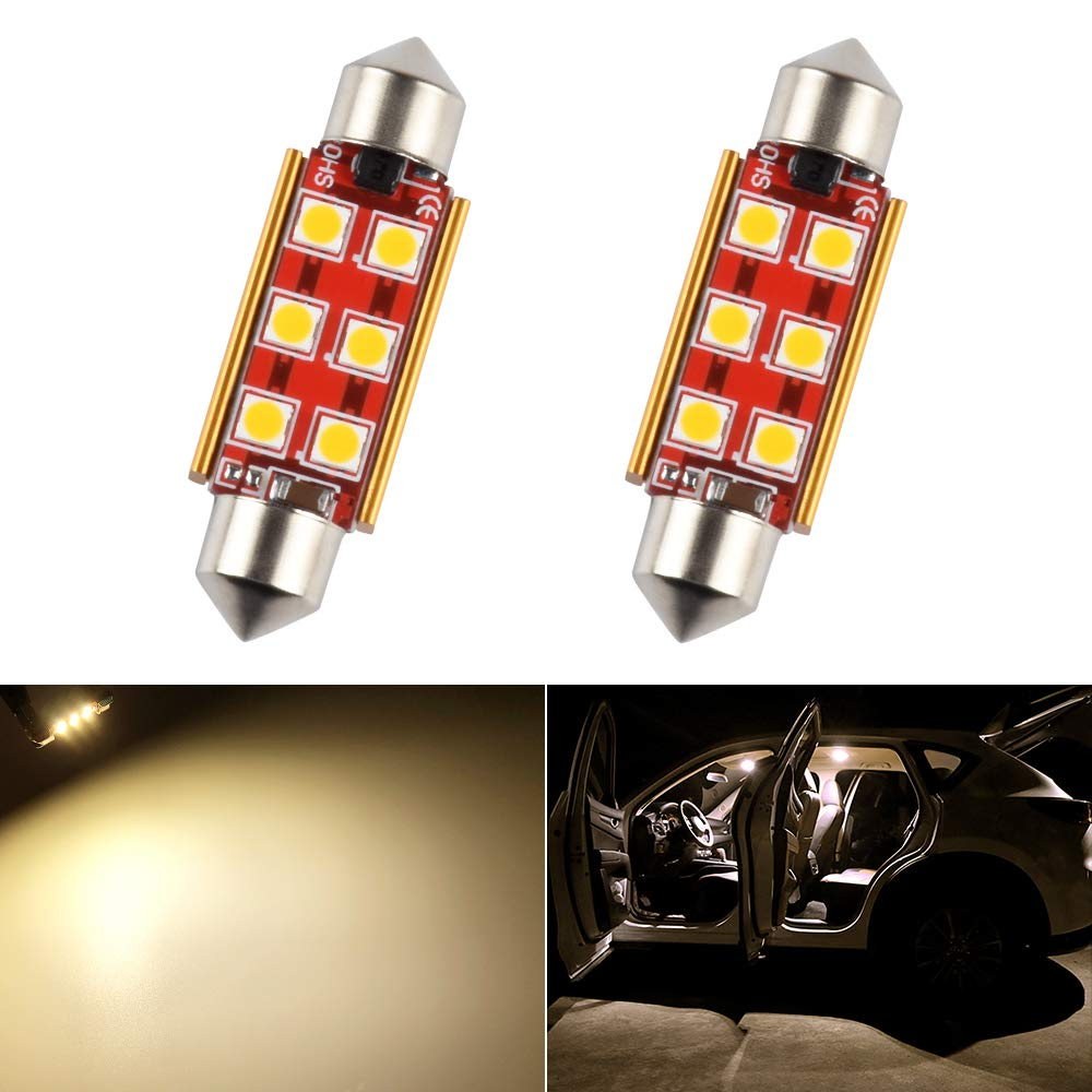 41mm 42mm 1.65in 211-2 569 578 LED Bulb Dome Light White 3030 SMD for Cars Map License Plate Trunk Side Marker Festoon Door Interior Lights Replacement Bulbs Lamps Canbus Error Free Bright 12V 2W 1 Year Warranty 2 Pack【1797】