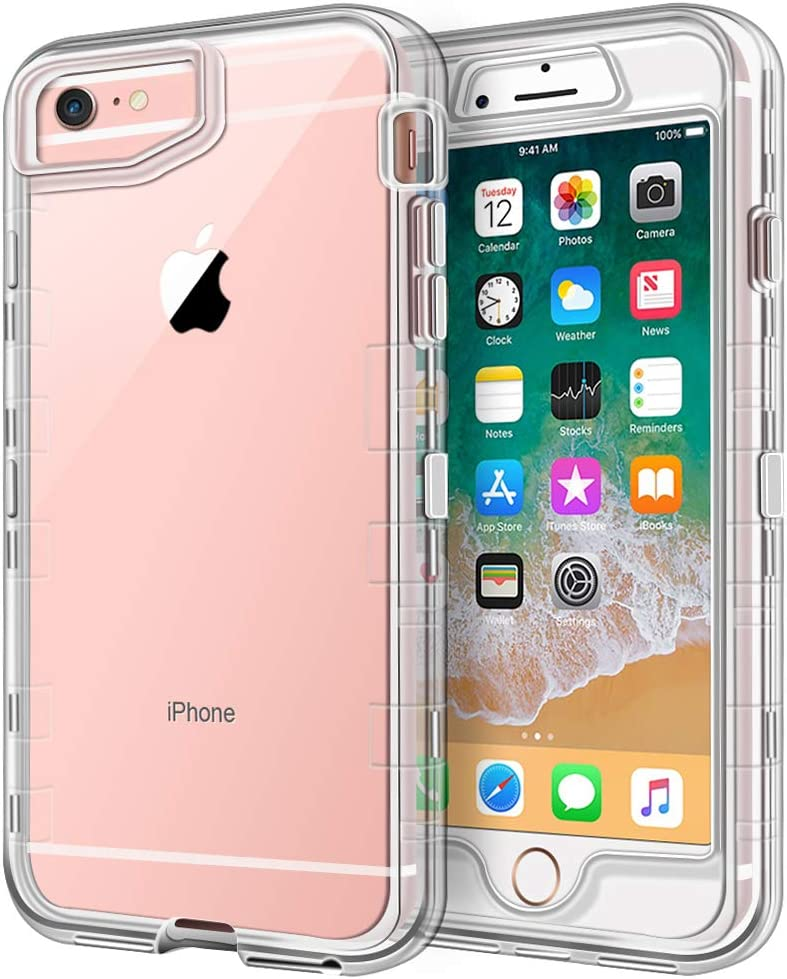 "iPhone 6S Plus Case, iPhone 6 Plus Case, Anuck Crystal Clear 3 in 1 Heavy Duty Defender Shockproof Full-body Protective Case Hard PC Shell & Soft TPU Bumper Cover for iPhone 6 Plus/6S Plus 5.5"", Clear"