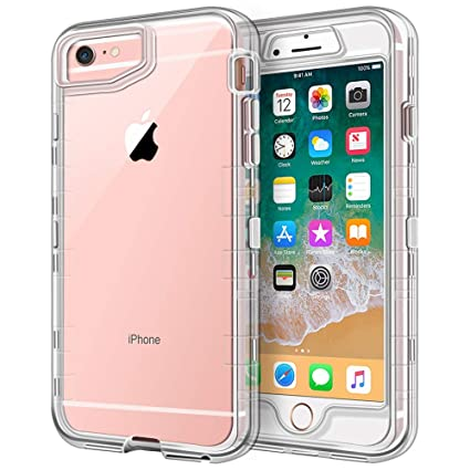 iPhone 6S Plus Case, iPhone 6 Plus Case, Anuck Crystal Clear 3 in 1 Heavy Duty Defender Shockproof Full-body Protective Case Hard PC Shell & Soft TPU ...