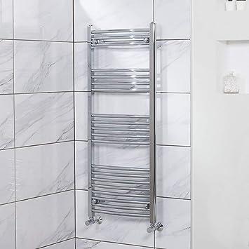 Sèche-serviettes eau chaude 360W - 1200 x 500mm - Incurvé - Chrome ...