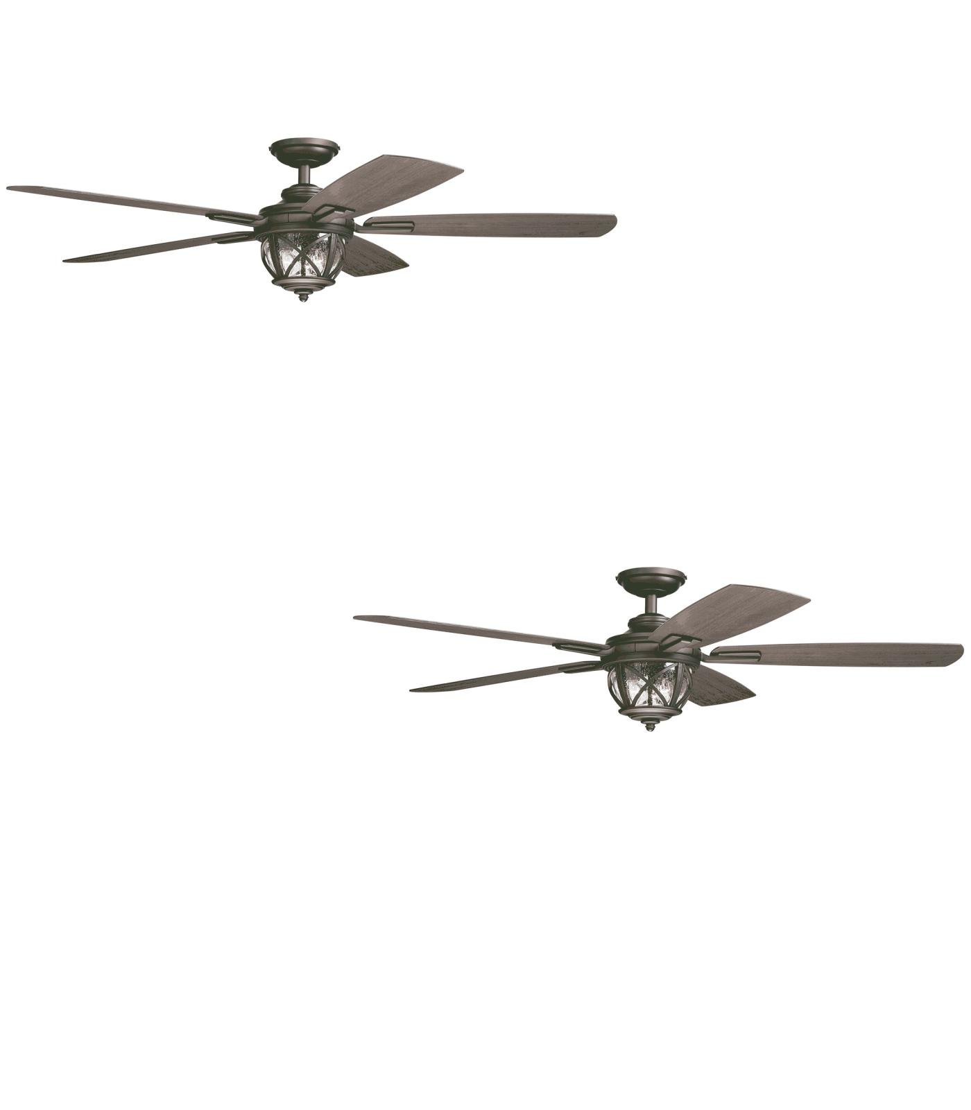 Set of Two - No. 35207 - Castine 52-in Rubbed Bronze Downrod or Close Mount Ceiling Fan with Light Kit and Remote - allen + roth