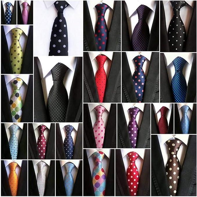 COMVIP Hombres Lunares de negocios mal seda tejida corbata ...