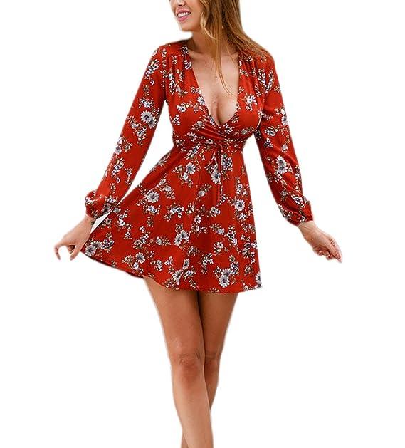 Mujer Vestidos De Fiesta Cortos Primavera Verano Elegantes Manga Larga Vintage Rojos Flores Estampados Vestidos Coctel