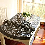 Stretch,Fold/Oval Tablecloth/Transparent Waterproof Table Mat-D 81x135cm(32x53inch)