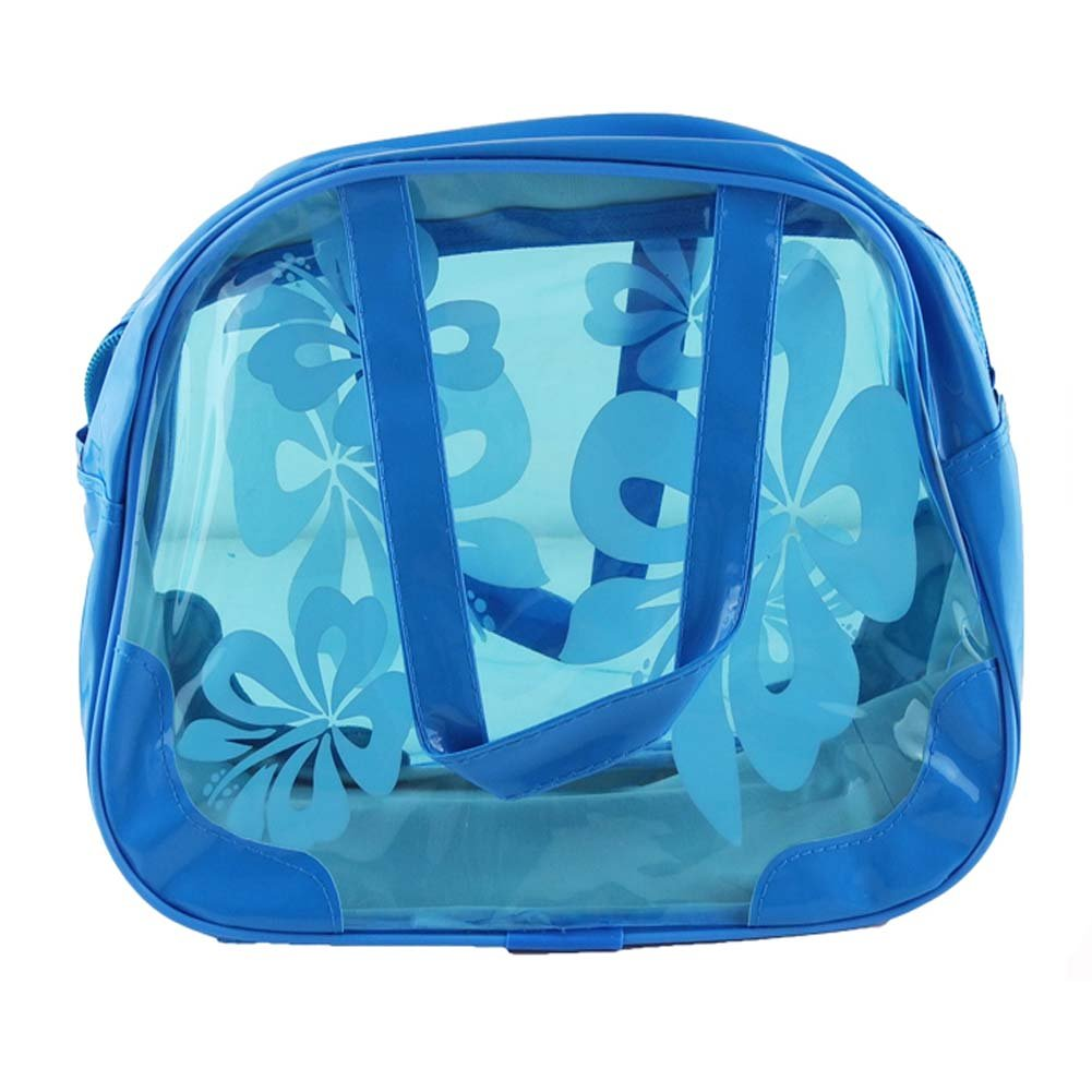 Blue PANDA SUPERSTORE Candy Color Transparent Waterproof Beach Tote//Wash Bag