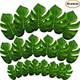 #7: Hestya 60 Pieces 3 Sizes Tropical Artificial Palm Leaves Faux Tropical Plant Leaf for Hawaiian Luau Jungle Beach Party Decoration