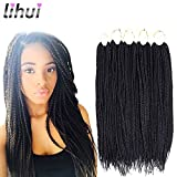 Lihui 7Pcs/lot Medium Box Braids Crochet Hair Crochet Box Braids Synthetic Hair Crochet Braids 20 Strands/pack (24Inches,#1B Color)
